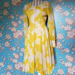 Early 1960's Yellow Floral Dress - Small